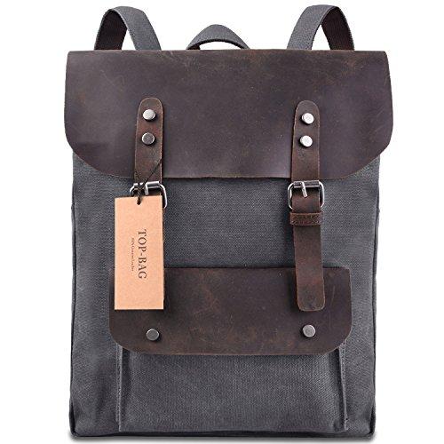 TOP-BAG Women Vintage Canvas Leather Shoulder Bag Backpack ...