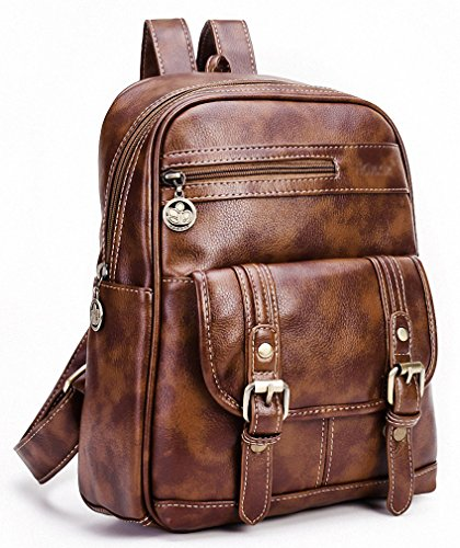Kenox Small Pu Crazy Horse Leather Girls Brown School Backpacks ...