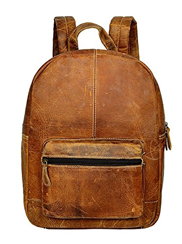 e1d9da514b7 Genuine Leather Backpack Business Travel Daypack Fits 15.6″ Laptop ...