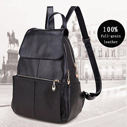 109d3976034 Popobago Women s 100% New Genuine Leather Multi-zippered Fashion ...