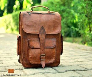 2102b022af88 Brown Leather Rucksack Vintage Backpack – Fits 15 Inch Laptops and iPads –  Handsome Patina Deepens as Ages – Waterproof